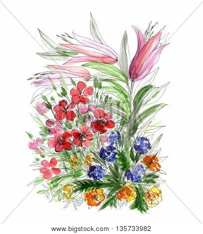 Decorative watercolor hand drawing bouquet of flowers