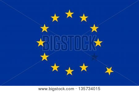 Flag of European Union EU with a flying star. Vector Icon Illustration