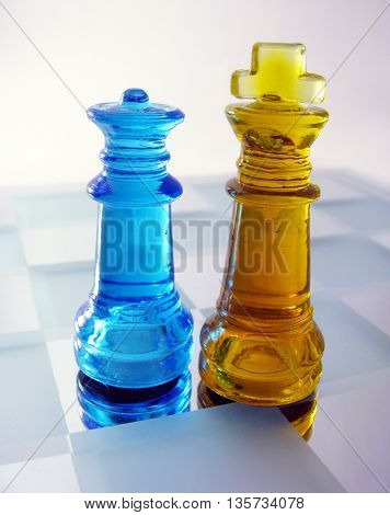 king and queen made of colored glass