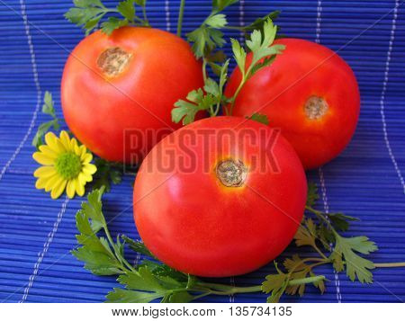few tomato on blue background