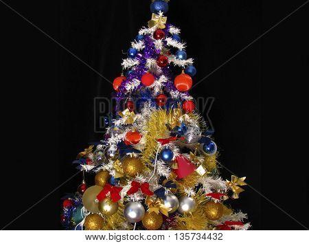 christmas tree over black background