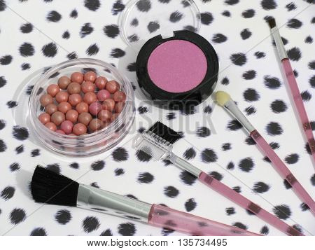 cosmetic set on colorful background