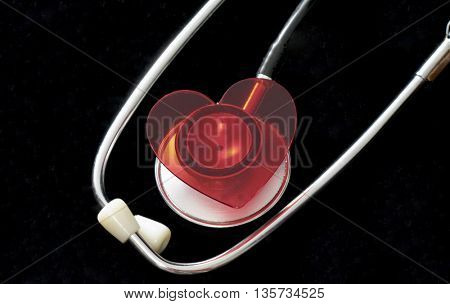 heart placed on stethoscope