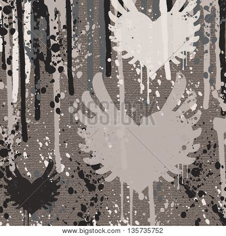 grunge heart shape on grey background