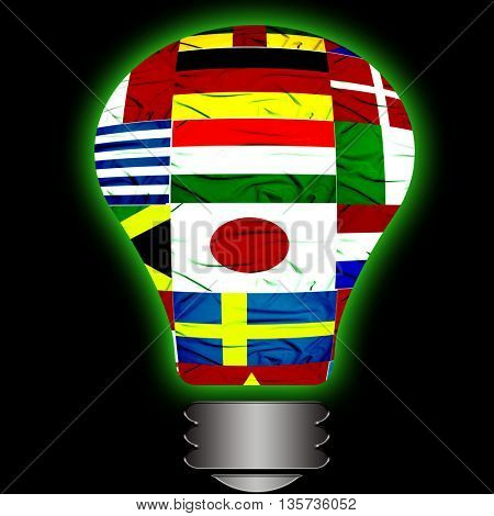large group of flags in lightbulb