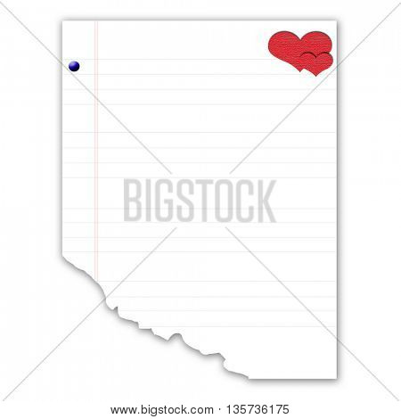 blank notebook with heart shape