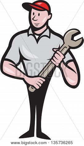 Illustration of a mechanic worker standing looking to the side carrying spanner viewed from front set on isolated white background done in cartoon style.