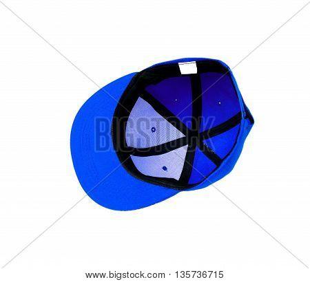 Blue baseball cap isolated on white background.