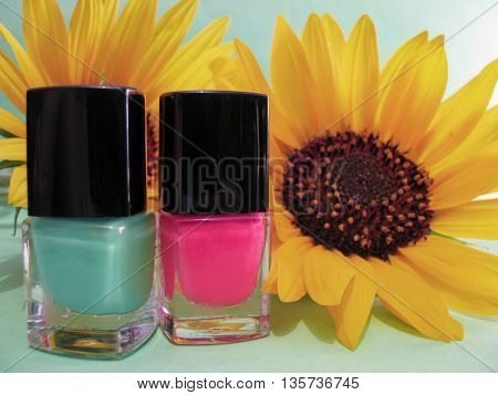 nail polish and sunflower