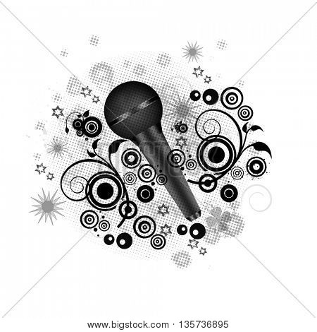 microphone and floral shapes around