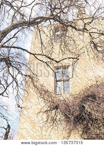 The Tower, Sudeley Castle, Winchcombe, Cheltenham, tree branches in the foreground.  Home of Katherine Parr 6th wife of Henry VIII. Coloured pencil effect generated from photograph.