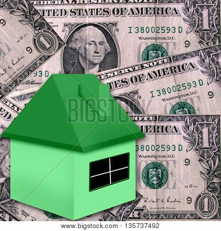 illustration of house on money background