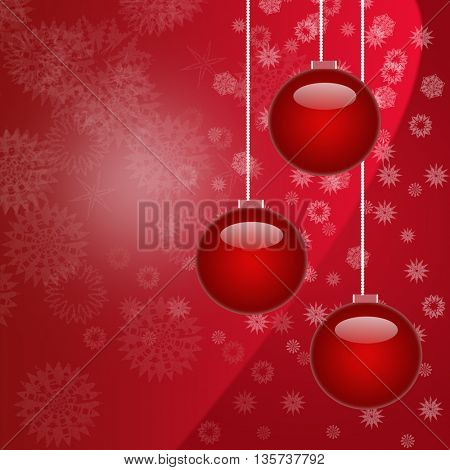 Beautiful red Christmas decorations on red background
