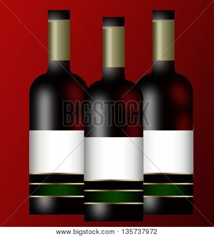 Three wine bottles isolated on red background