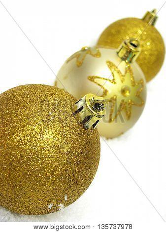 Beautiful sparkle golden Christmas decorations