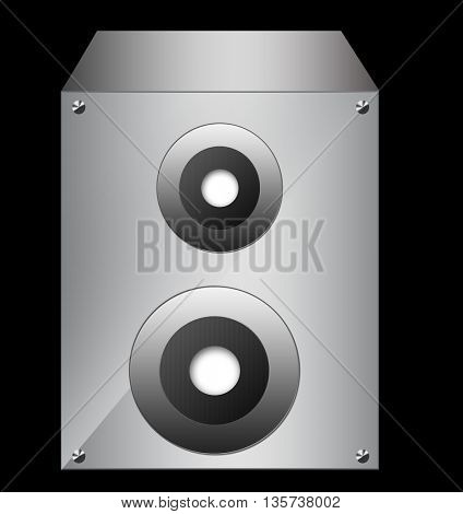 Silver speaker isolated on black background