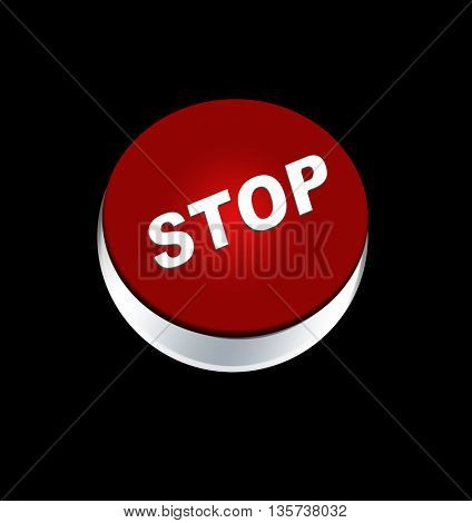 Button stop isolated on black background
