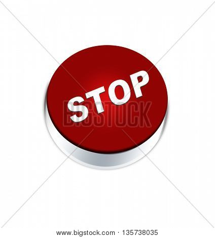 Button stop isolated on white background