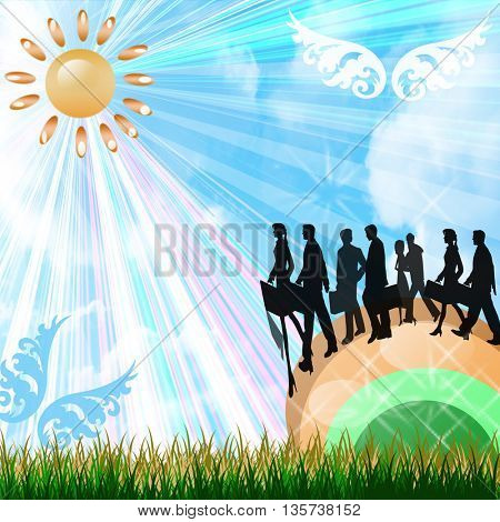 Business people silhouettes walking across a rainbow on a beautiful bright day