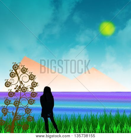 Young woman standing alone  at the beach looking into beautiful peaceful sea