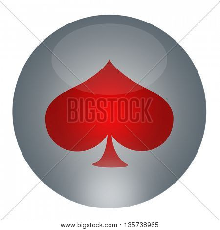 Playing cards symbols placed on the button