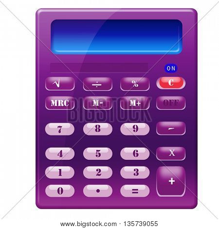 A pocket calculator on a white background