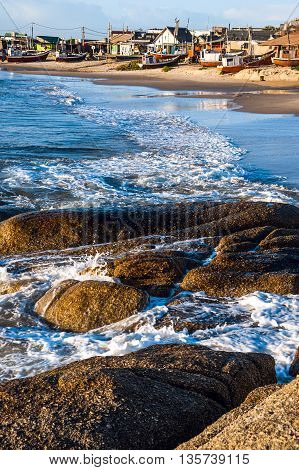 Punta del Diablo Beach popular tourist site and Fisherman's place in the Uruguay Coast