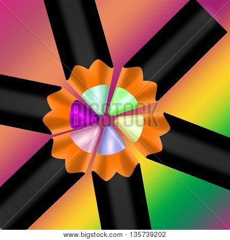 colour pencils on rainbow background