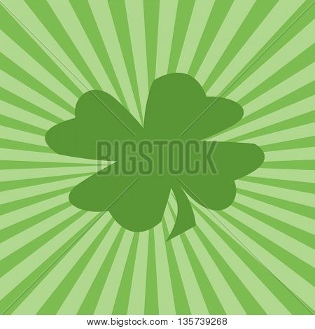 Four-leaf clover and green sunburst