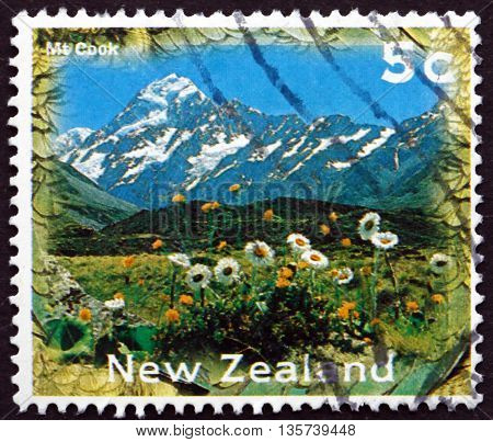NEW ZEALAND - CIRCA 1996: a stamp printed in New Zealand shows Mt. Cook is the Highest Mountain in New Zealand circa 1996