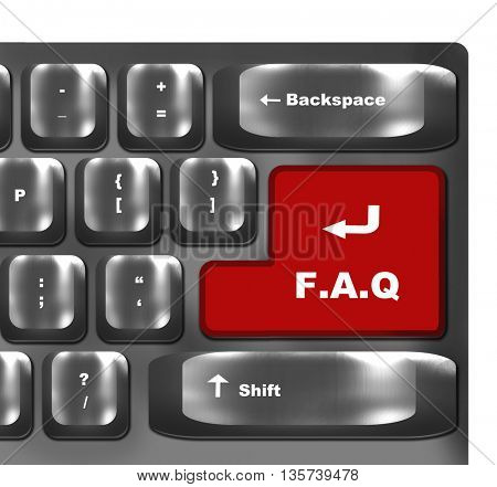 f.a.q button showing support or faq concept