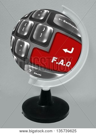 f.a.q button showing support or faq concept placed on the globe