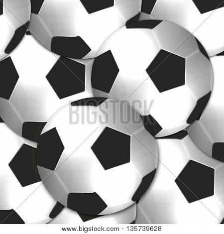 large group of football balls background