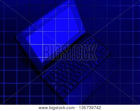 laptop on the blue background with square