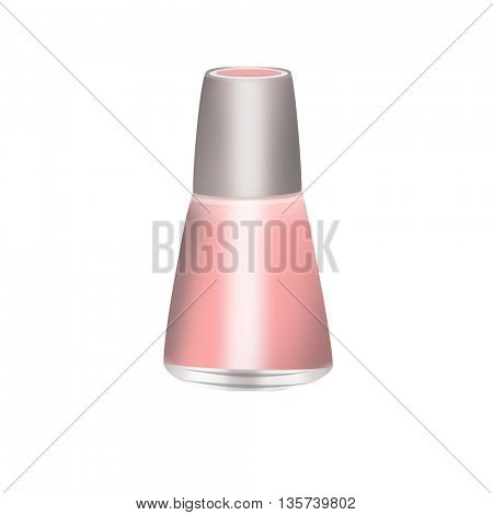 Pink Nail Polish bottle isolated on white