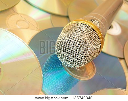 classical microphone  and cd