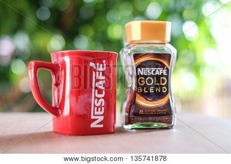 KUALA LUMPUR, MALAYSIA - MAY 14, 2016: Nescafe Gold Blend instant coffee.