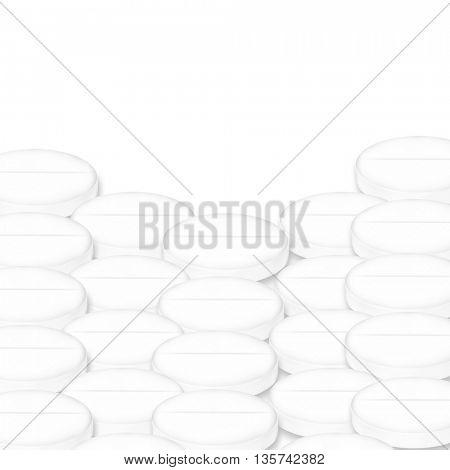 white pills on white background