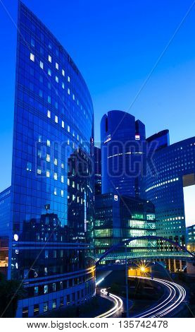Puteaux city France-June 23 2016 : The business district La Defense is Europe largest purpose built business district with 72 steel and glass buildings of which 18 are completed skyscrapers.