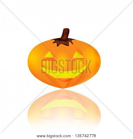 yellow halloween pumpkins on white background, isolated with reflection