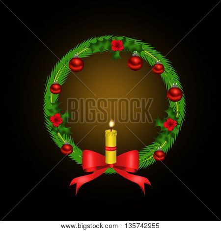 Christmas wreath with red bow and candle