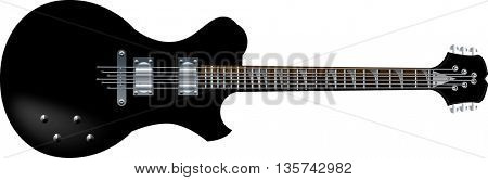 black beautiful electric guitars on a white background
