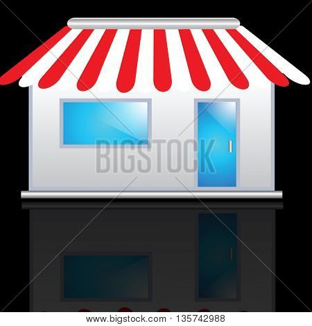 Cute shop icon with red awnings