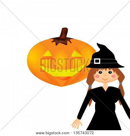Girl in witch costume and smiled orange pumpkin