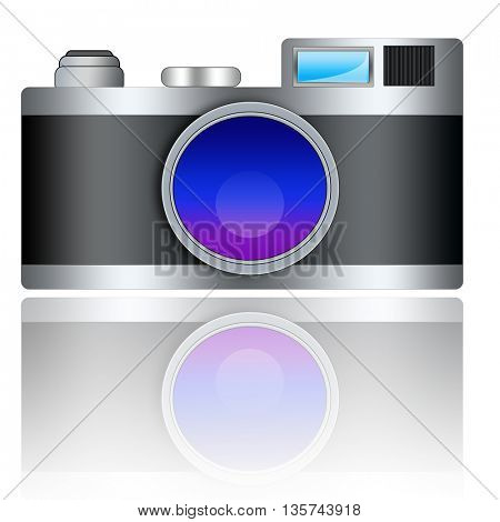 Digital compact photo camera isolated on white background with reflection