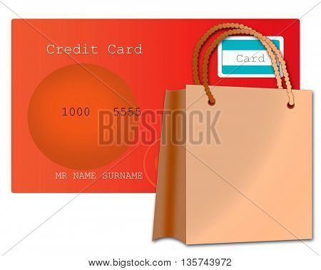 credit card and bag