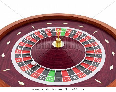 3d renderer image. Casino roulette wheel. Gambling games. Isolated white background.