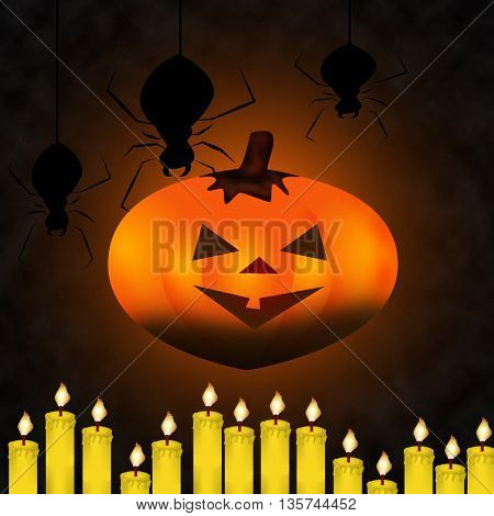 Pumpkins,  and spiders on the orange Halloween background with candles