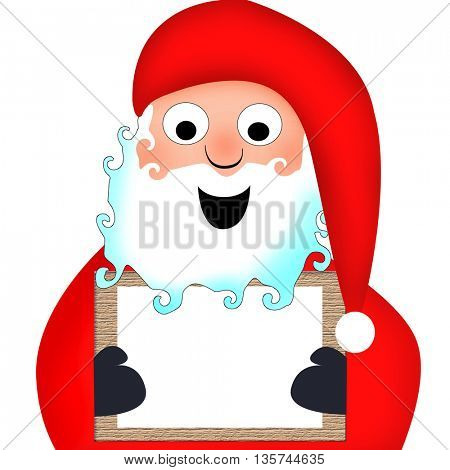 Santa Clause holding a wooden board with empty space for text
