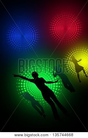 Dancing silhouettes, under the multicolored spotlights, in the night club